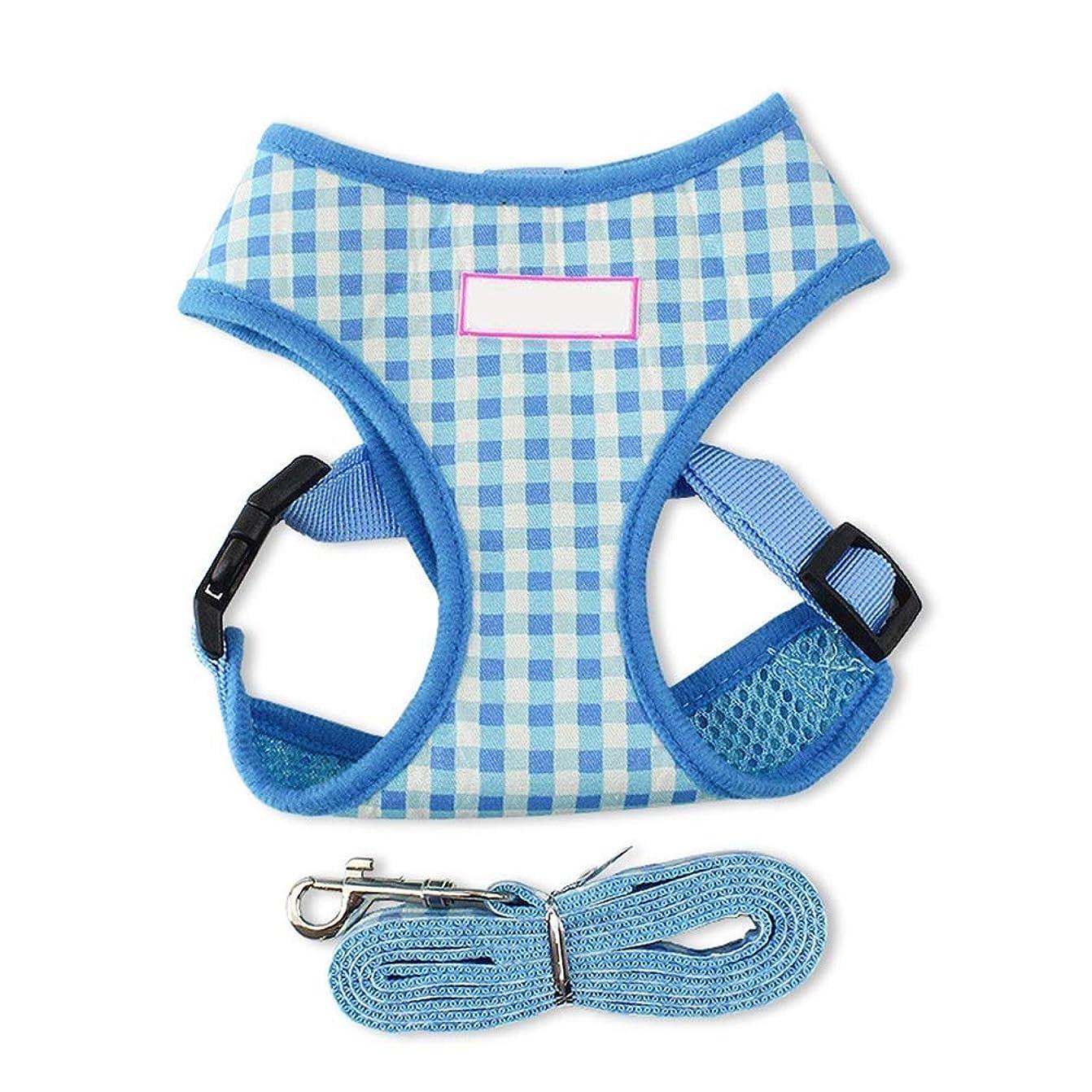 想像する国旗株式柔らかい網の生地の子犬の調節可能な馬具の子犬猫のためのリード?リーシュ犬の馬具 YANW (色 : 青, サイズ さいず : M m)