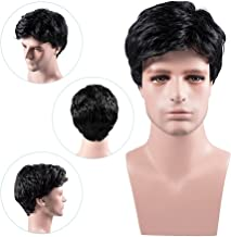 MelodySusie Men's Wig Black Natural Looking Short Wigs with Wig Cap for Daily Halloween Wear and Formal Occasion,Black