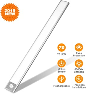 70 LED Closet Light, Rechargeable Eye Protection Under Cabinet Lighting Bar, Energy Saving Motion Sensor Motion Lighting Luxury Aluminum Lighting for Indoor,Outdoor,Kitchen,Cabinet (2 Sensor Modes)