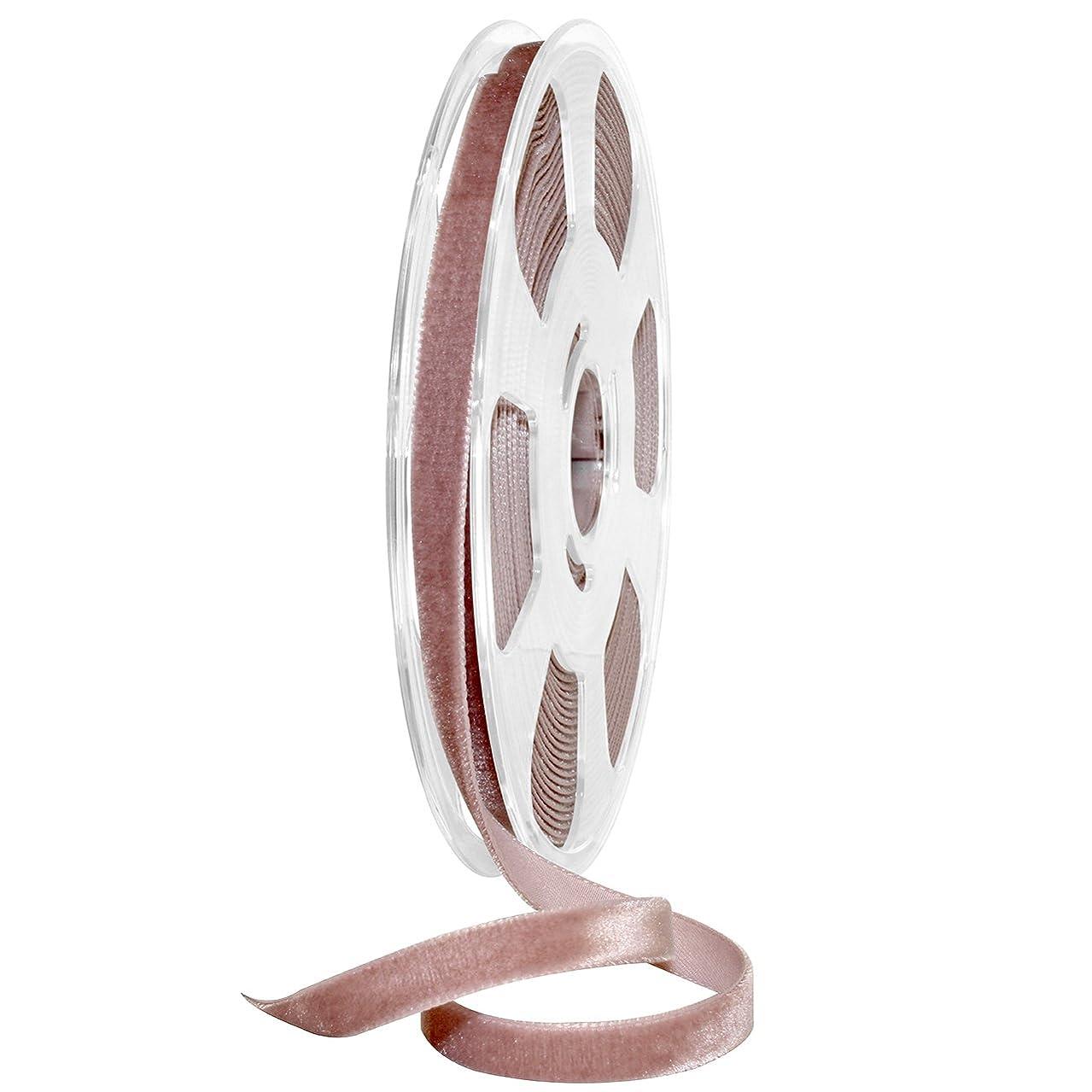 Morex Ribbon Nylvalour Velvet Ribbon, Nylon, 3/8 inch by 11 Yards, Rosy Mauve, Item 01210/10-263, 3/8