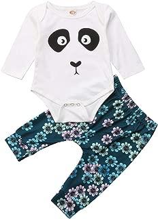 2PCS Newborn Baby Boys Cute Panda Romper+Daisy Floral Stretchy Leggings Pants White Baby Harem Pants Outfits Set
