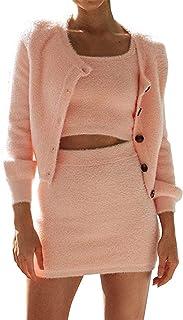 ZXJ Conjunto de pijama de forro polar suave, camisola de piel de visón, sexy de cintura alta, falda de cadera ajustada, manga larga, abrigo cálido, rosa, S