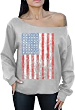Awkward Styles American Flag Distressed 4th July Off The Shoulder Oversized Sweater Sweatshirt