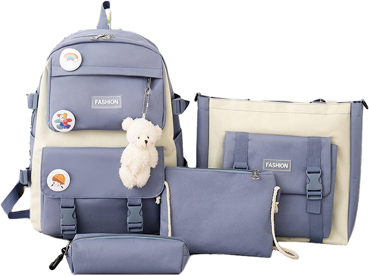 4Pcs Backpacks Combo Set with Bear Pendant for Teenage Students - Canvas Laptop School Bag Sets for Kids with Tote Pencil Case, Lunch Box Bag, Back To School Supplies Daypack Kit (Blue)