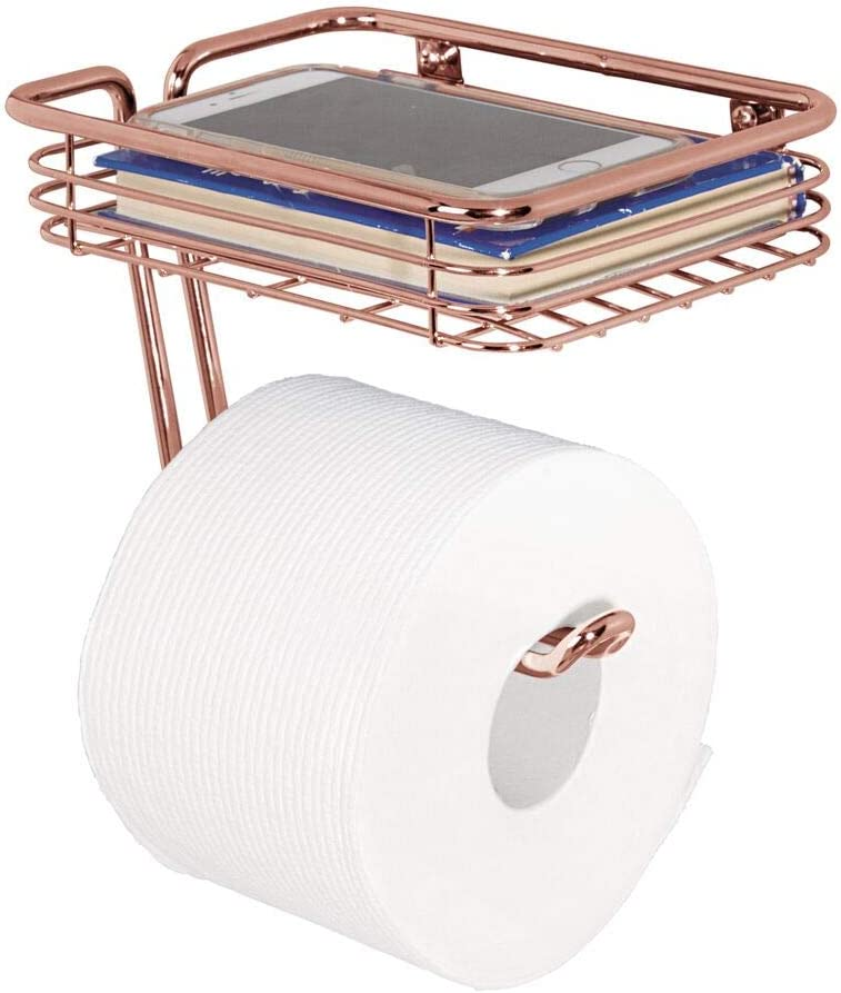 Soporte para papel higiénico y estante multiuso Rosa Oro