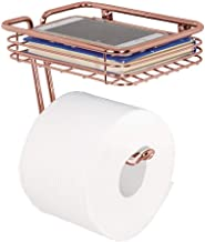 mDesign Wall Mount Toilet Tissue Paper Roll Holder Dispenser Storage Shelf Bathroom Storage Organization - Holds Dispenses...