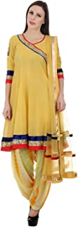 Devaleena Creations Yellow Chanderi Short Anarkali-Peacock embroidery on the sleeves for Ladies
