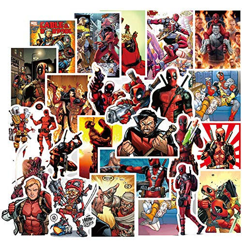 40 Pcs Stickers for Deadpool,Aesthetic Stickers for Water Bottle Laptop Skateboard Luggage Flask Computer Car Phone,Cool Anime Trendy Vinly Waterproof Stickers for Teens Boys Kids Girls.