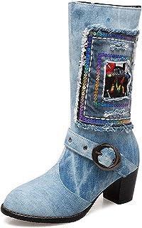 POLP Zapatos de Tacón Grueso de Mezclilla para Mujer Botines de Caballero Botas Altas con Hebilla y Cremallera Mujer Botas...