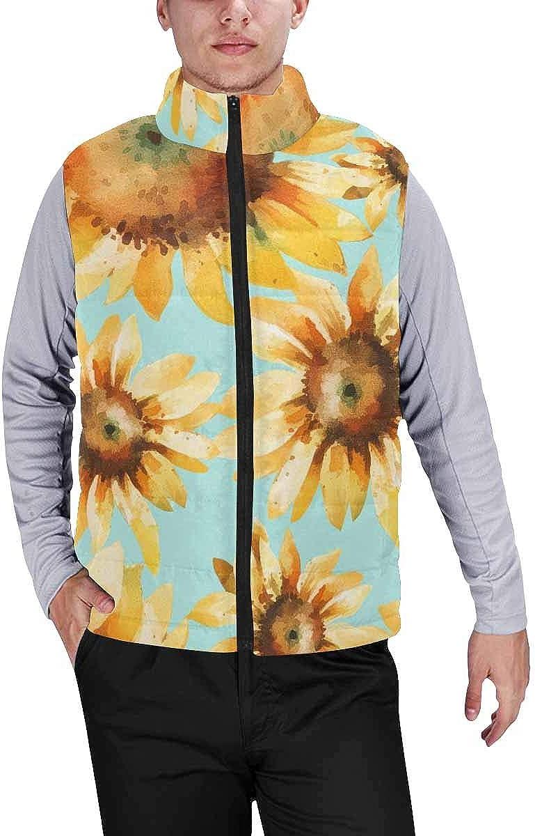 InterestPrint Men's Winter Full-Zip Outwear Padded Vest Coats Sunflower Green Leaf