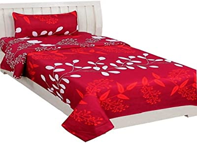 PRIDHI Glace Cotton Single Bedsheet with 1 Pillow Cover -60 * 90 Inches