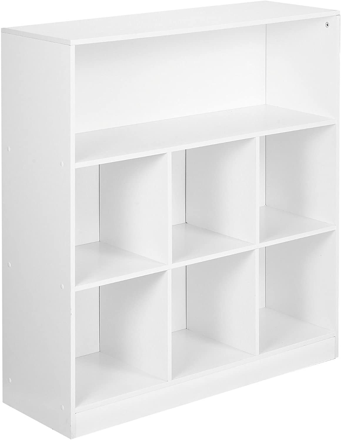 URBNLIVING White Wide Wooden 7 Cube Bookcase Storage Unit