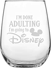 Engraved Stemless Wine Glass   Disney-Inspired Glass   Mickey Mouse Fan   Minnie Mouse Fan   Funny Birthday   by Laser Etchpressions   I'm Done Adulting I'm Going To Disney