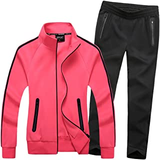 Activewear BYWX Women 2 Piece Crop Top Stretchy Color Blocked Casual Sport Comfort Soft Tracksuit