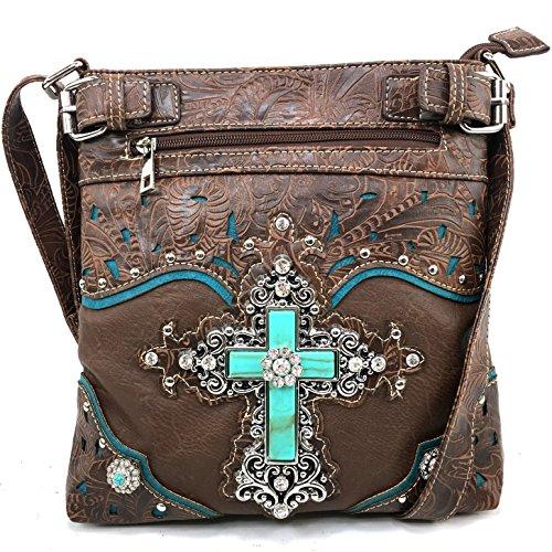 Justin West Western Laser Cut Rhinestone Silver Cross Messenger Handbag with CrossBody Strap (Brown)