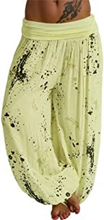 TieNew Women´s Bloomers with Pattern Harems Trousers Wide-Leg Pants Loose Yoga Dance Pants