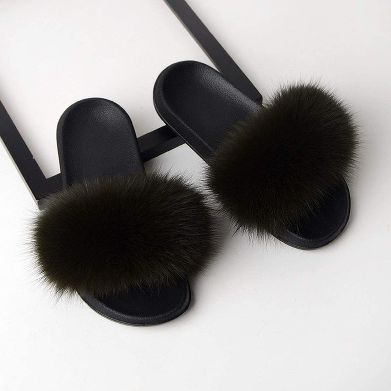 High end Women's Fur Slippers Winter Warm Women Furry Ladies Cute Plush Fox Hair Fluffy MM-36
