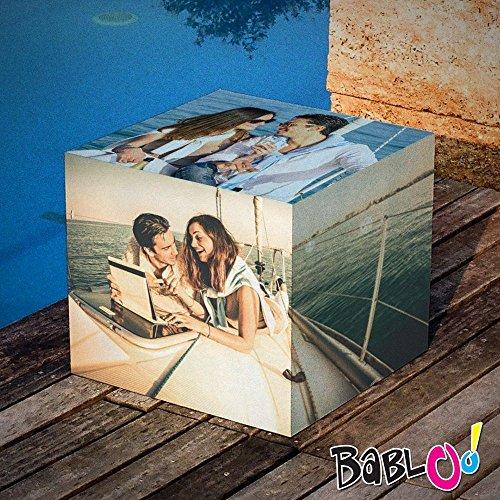 Babloo zitkubus, personaliseerbaar, 38 x 38 x 38 cm, met foto, Frasi of logo