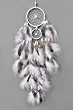 TooglBox Handmade Native American Indian Dream Catcher [White] with Real Feathers & Wood Beads,for Kids, Bedroom, Wall Hanging Decor Craft, Two Circles 4.3