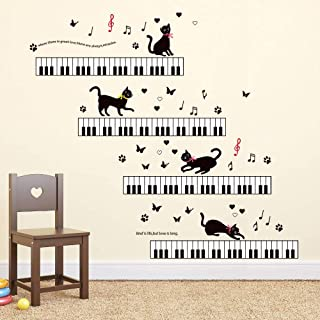 ufengke Music Wall Stickers Piano Cat Wall Decals Art Decor for Girls Kids Bedroom Nursery