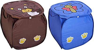 Kuber Industries Polyester 2 Piece Square Laundry Bag/Basket (Multi)-CTKTC21543
