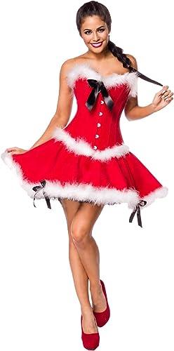 AT 2-tlg. Weißnachts-Kostüm  Miss Santa  Christmas Set aus Corsage, Rock in rot Weiß von MASK PARADISE Dessous (L (40))