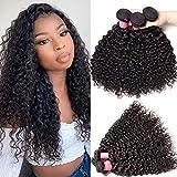 Klaiyi Hair Brazilian Cheap Curly Hair 3 Bundles Good Quality Grade 6A Raw Virgin Hair Weave Real Human Hair Extensions Natural Hair Color 95-100g/pc (12 14 16Inch)