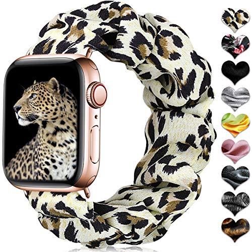 CeMiKa Scrunchie Elástica Correa Compatible con Apple Watch Correa 38mm 40mm 42mm 44mm, Patrón Pulsera de Tela Impresa Compatible con iWatch Series 6 5 4 3 2 1/SE, 38mm/40mm-M/L Leopardo