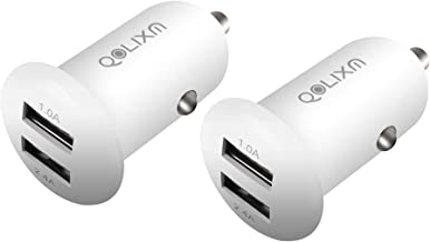 Car Charger, QOLIXM Flush Fit Dual Port USB Car Adapter 2-Port Fast Charging for iPhone, iPad, Samsung, HTC, LG, Smartphone, Tablet, Digital Camera, and More (White 2 Pack)