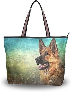 ALAZA Tote Umhängetasche Ger Schäferhund Vintage-Handtasche Groß