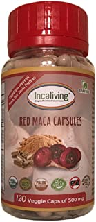 Red Maca Capsules by Incaliving * 120 Count * 100% USDA Organic * 100% Gelatinized * Authentic Peruvian MACA from The Ande...