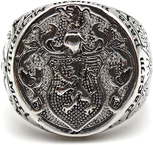 Anillo de león para hombres, anillo de cabeza de león de Norse Viking, anillo de sello del león de Hip Hop, anillo de amuleto de Lion Totem de vintage, anillo de cráneo masónico gótico, anillo de triá