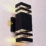 Tsiun Dusk to Dawn Sensor LED Outdoor Wall Light, Black Modern Porch Light 20W, 3000k Warm White, IP65 Waterproof, Outdoor Up/Down Light, Waterproof Porch Light
