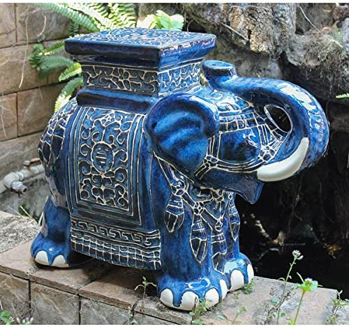 Large Porcelain Elephant Stool Austin Mall Blue Solid Wash Deluxe