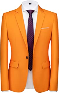 Mens Blazer Slim Fit Sport Coats 23 Colors for Daily Business and Party, Orange, Large