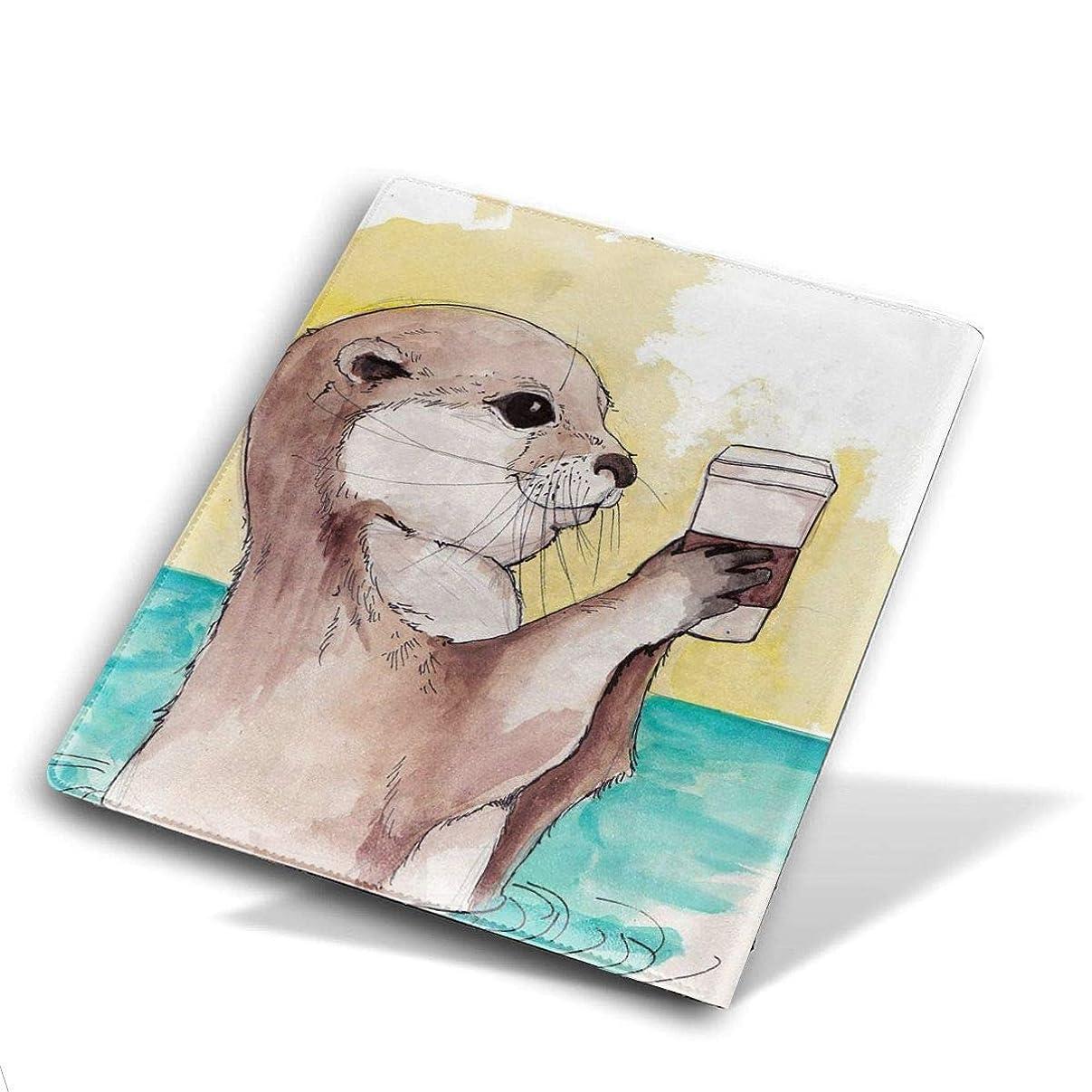 歩く熟考する苦悩高品質 レザー ブックカバー 本革 かわいいプリント付き 耐水性 教科書 ノート 漫画用 Size 28*51 Cm Watercolor Otter Painting カワウソ 川獺