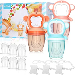 Baby Food Feeder AVHzY Silicone Baby Teething Pacifier(3 Pack), Baby Fruit Feeder with 3 Sizes Soft Safe Nipple and 3 Paci...