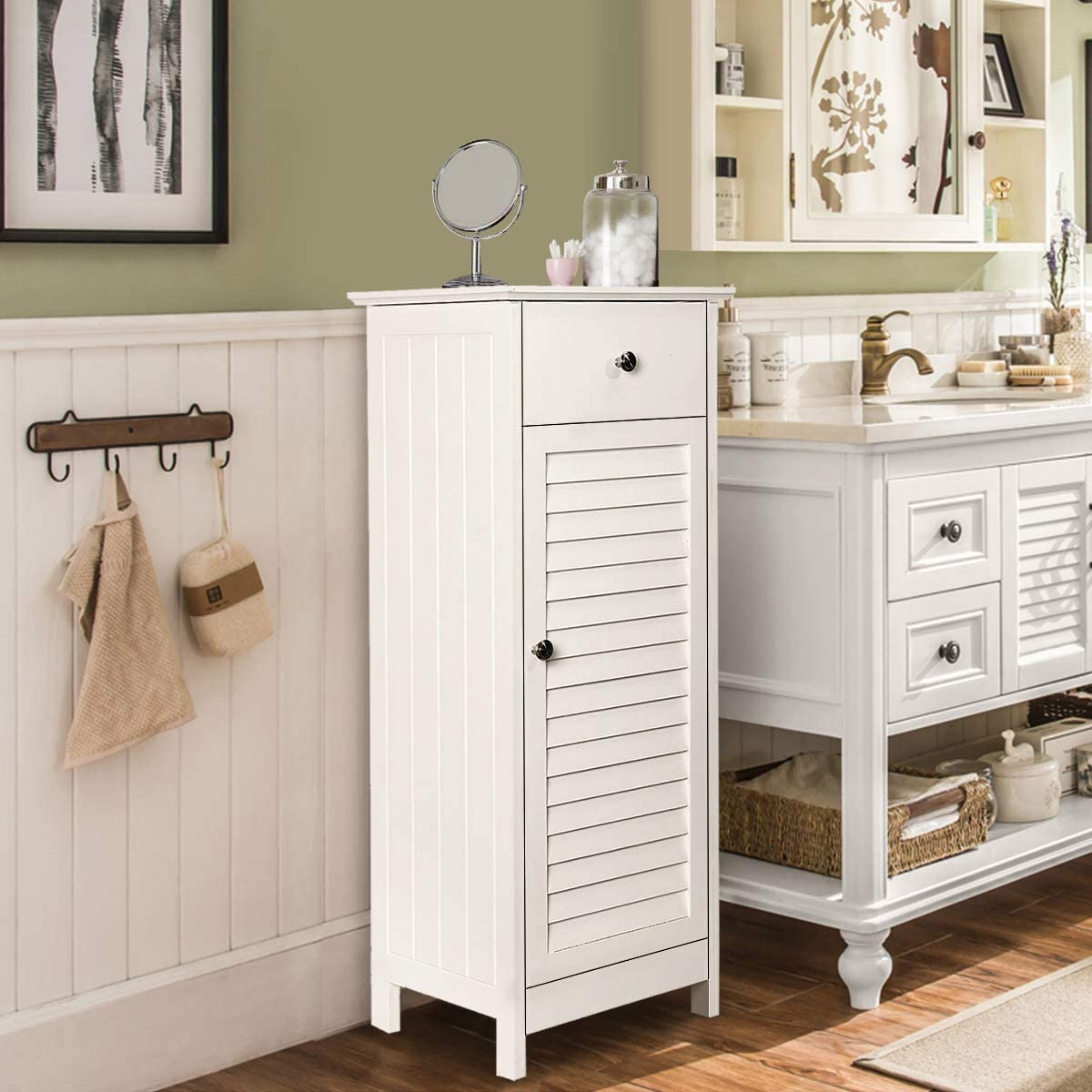 KINGSO Bathroom Floor Storage Cabinet Standing Cabinet with Drawer and Single Shutter Door for Home Office,12.6x11.8x34.3inch-White