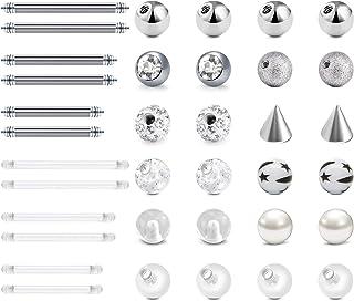 LAURITAMI 24pcs Piercing Bolas Reemplazo Acero Quirúrgico & Acrílico 5mm 14G Lengua Ombligo Pezón Industrial Barras Barbel...