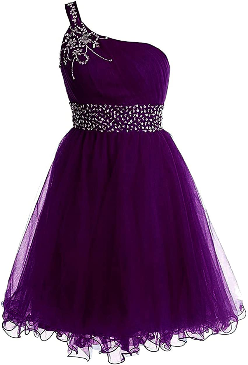 One Shoulder Beaded Homecoming Cocktail Dress A Line Tulle Short Prom Dress
