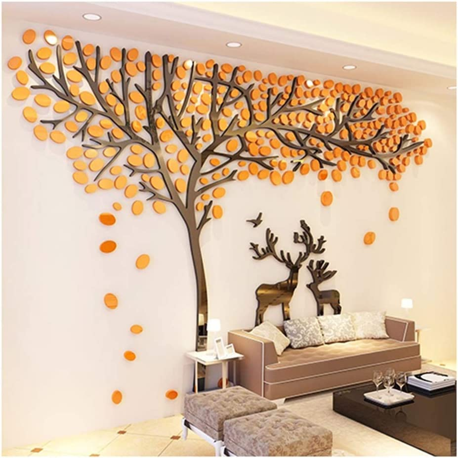 Zxcbhd DIY Industry No. 1 2021 autumn and winter new 3D Huge Tree Wall M Deer Decals Acrylic Stickers