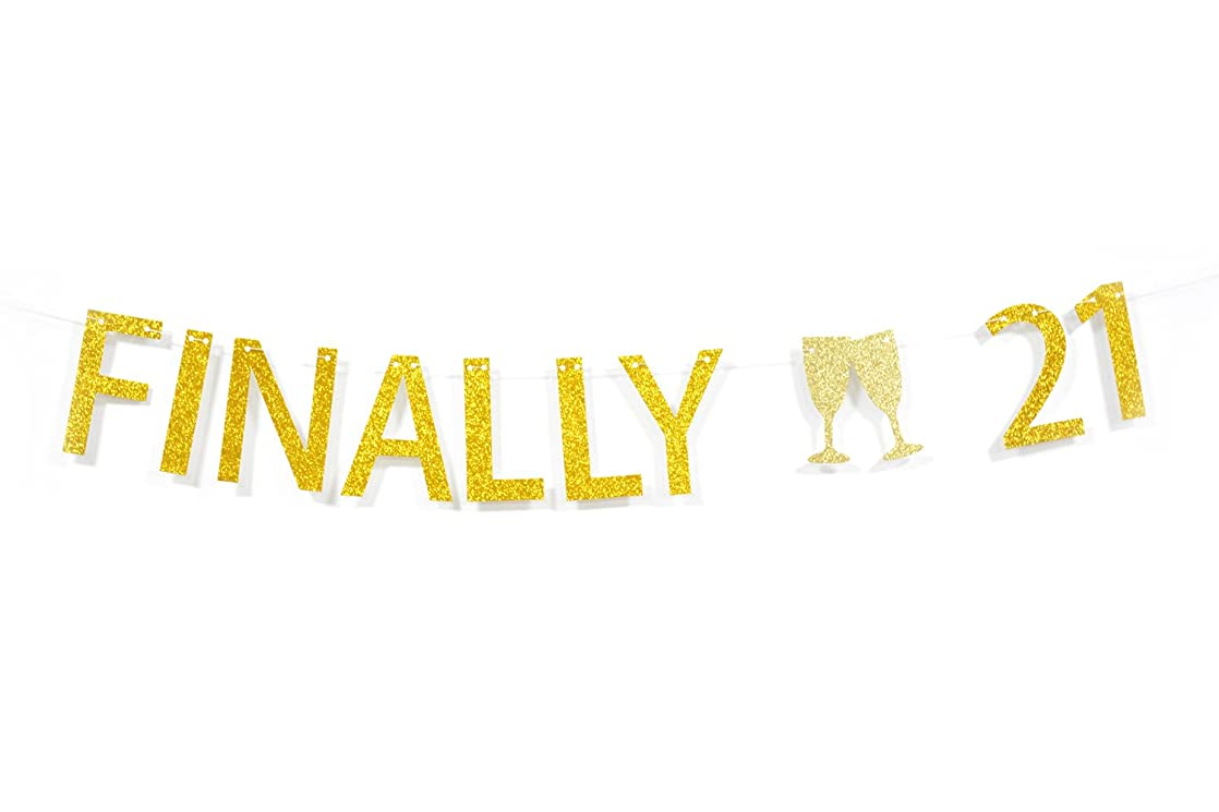 Qttier? Finally 21 Gold Glitter Banner for 21st Birthday Anniversary Party Decoration sxyswtkw30713