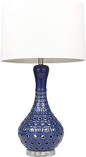Sagebrook Home 50201-02 Ceramic Pierced Bottle Table, Navy Blue, 31
