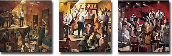 Red Jazz, Cita con el Jazz (Jazz Meeting), Blue Smoke by Didier Lourenco 3-pc Premium Gallery-Wrapped Canvas Giclee Art Set (12 in x 12 in Each Canvas Giclee in Set, Ready-to-Hang)