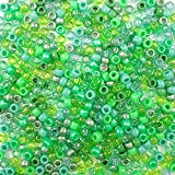 Green Apple Mix Pony Beads 6 x 9mm Made in The USA, 700 Beads Bulk Plastic Craft Beads for Arts Crafts Hair braiding Jewelry Decorations Accessories