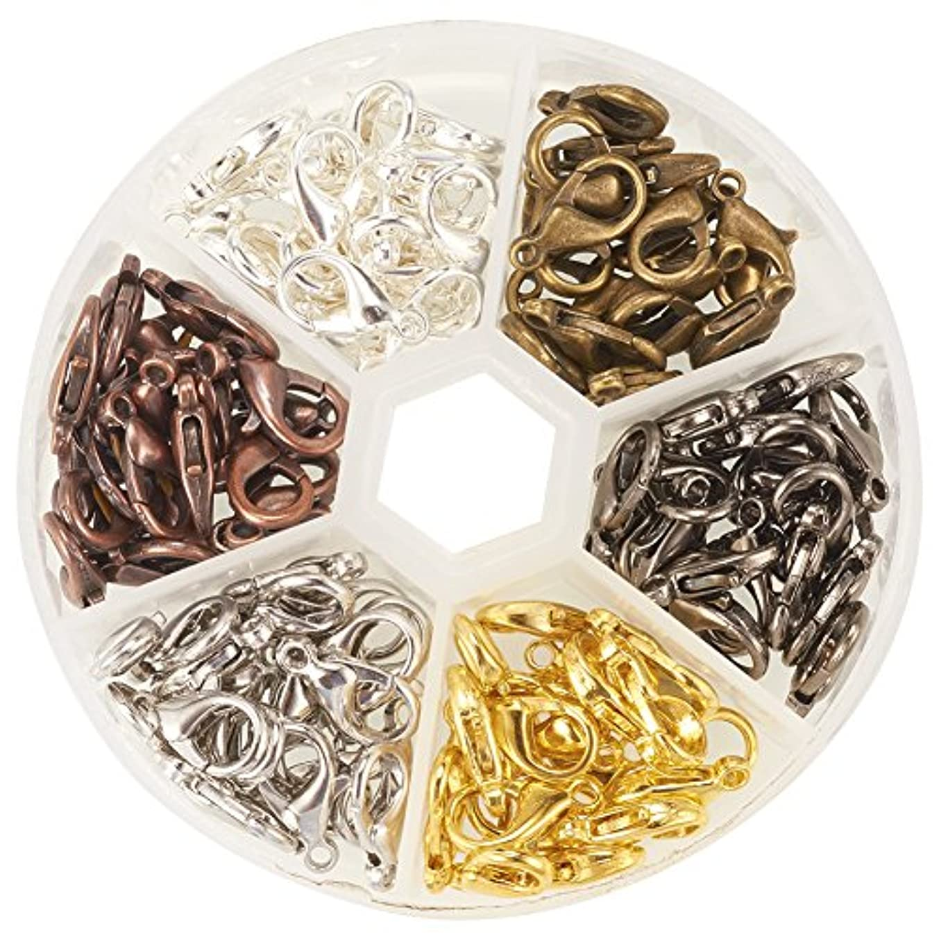 Pandahall Elite Zinc Alloy Plated Lobster Clasp Findings Making For Jewelry in 6 Colors 120Pcs