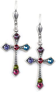 Elegant Multicolor Swarovski crystal Victortian Cross dangle earrings EX10