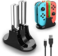 Joy con Charging Dock, YCCTEAM 4 in 1 Switch Remote Charger for Nintendo Switch, Joycon Controller Charger Station with LED Indication and Type C Cable