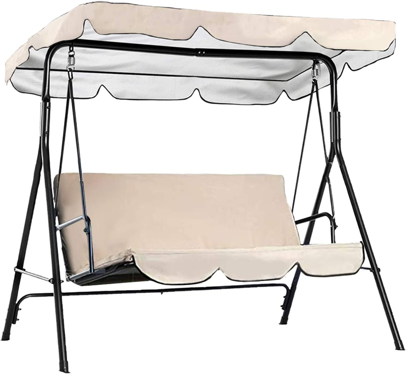 Persever Patio Swing Canopy Replacement Cover, Garden Swing Canopy Top Cover, Swing Chair Awning, Unique Velcro Design Windproof Beige 98x72x7in
