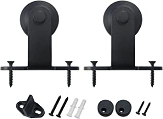 SMARTSTANDARD Sliding Barn Door Hardware Hangers 2pcs (Black) (T Shape Hangers)